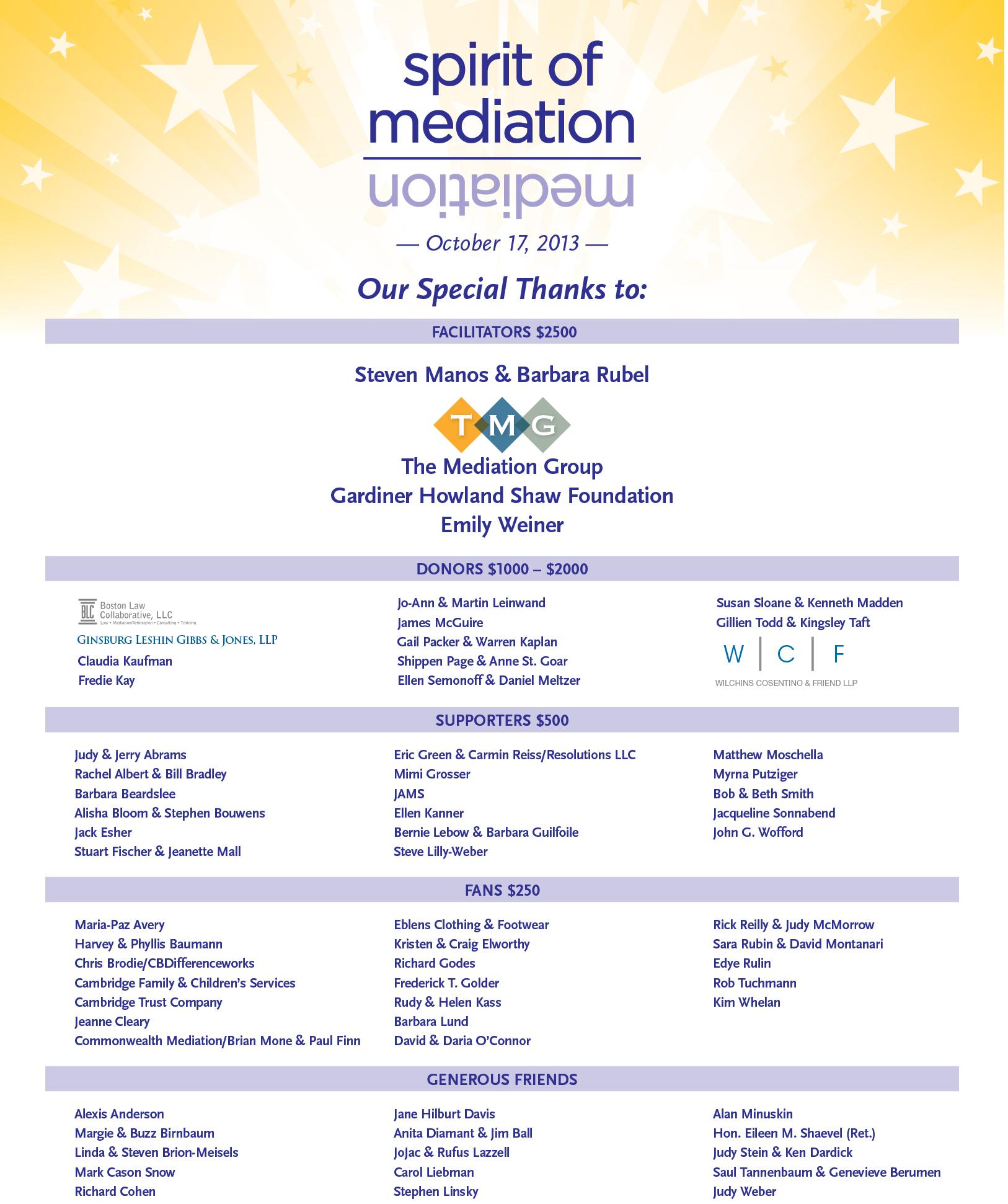 2013 Spirit of Mediation Celebration - communitydispute